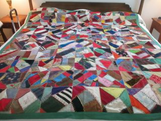 """Large Vintage """" Crazy Quilt """" Made In Maine,  Elegant Embroideries & Fabrics"""