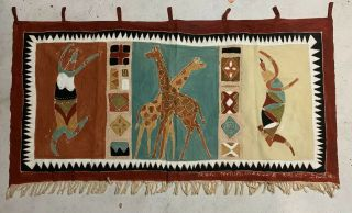Vintage West Africa Tribal Fabric Hand Painted Women & Giraffes Wall Hanging