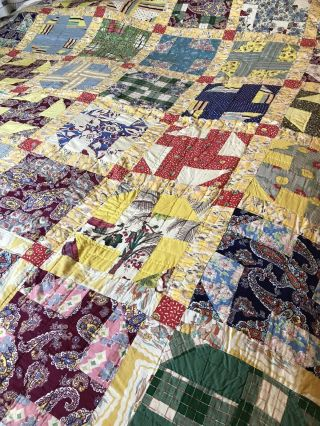 """Vintage Colorful Quilt Hand Pieced Hand Quilted Light Blue Backing 78 """" X 66 """""""