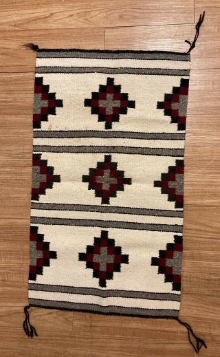 Vintage Navajo Style Rug Weaving Quilt Squares Motif Mexican Origin Likely