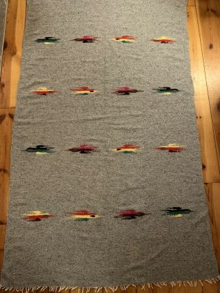 Vintage Authentic Mexican Woven Blanket W/ Fringed Ends Gray W/ Color Accents