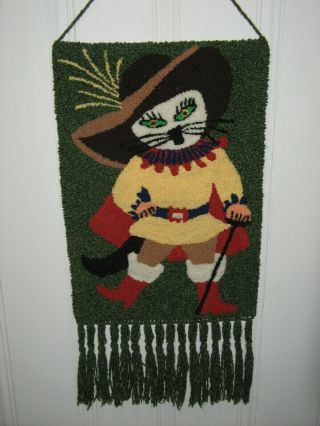 Vintage Mid Century Puss In Boots Cat Wall Hanging Hooked Rug Macrame Tapestry