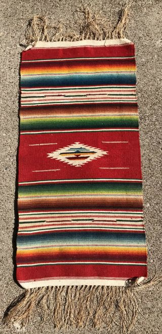"""Old Weaving Chimayo Textile 9"""" X 19"""" 3"""" Fringe Wall Hanging Table Throw"""
