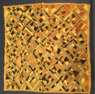 """Vintage Authentic African Kuba Cloth 17"""" Square West African/republic Of Congo"""