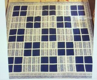 """1900s Vintage Shades Of Blue Patchwork Hand Quilted Quilt - 95 X 94 """" L - King"""
