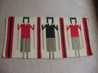 Vintage Navajo Indian Gallup Throw Rug With 3 Figures