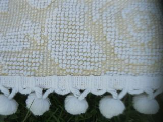 Vintage Yellow White Pom Pom Chenille Bedspread Queen Full Size