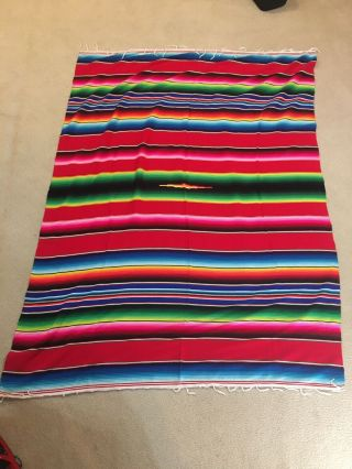 Vintage Mexican Saltillo Serape Wool Blanket Rug Wall Hanging Colorful 80x 59