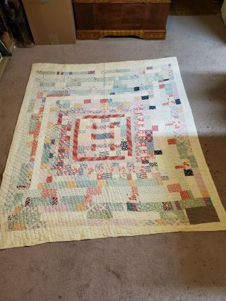 Vintage Hand Made Hand Stitched Multi Color 78x67 Quilt Repair Cutter Or Display