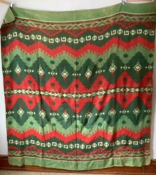 Vintage Double Sided Camp Blanket Red & Green