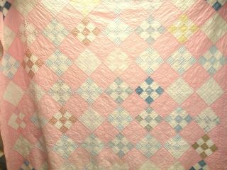 Q 3 - Vintage Quilt,  Hand Quilted,  9 Patch,  Pink And White,  68 X 80 Inches