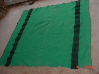Old Green Hudson Bay Style Indian Trade Wool Blanket 57 By 54