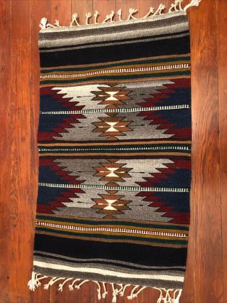 """Vintage Mexican Wool Rug Wall Hanging Fringe Multicolor Southwest 23"""" X 38"""""""