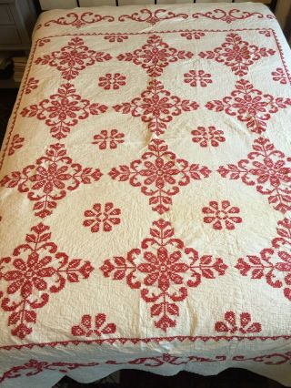Vintage Embroidered Red And White Full Size Quilt 75 X 90