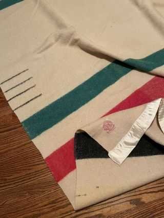 Vintage 20's 30's Hudson Bay 4 Point Itchy Wool Made In England Striped Blanket