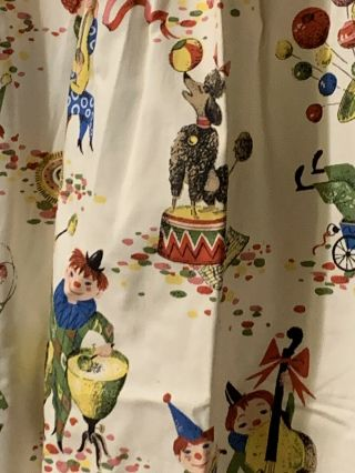 Vintage Circus Novelty Fabric Pleated Curtains Drapes Animals Clowns 2 Panels