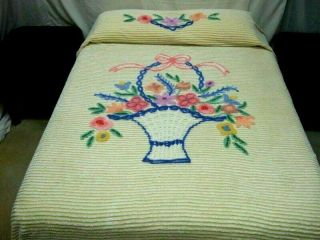 Vintage Lovely White Chenille On A Yellow Background Bedspread