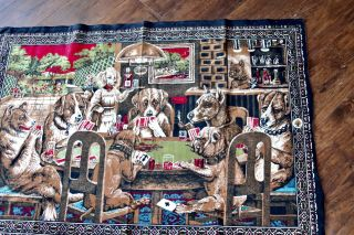 """Authentic Vintage Dogs Playing Cards Poker Turkish Tapestry 52x37"""" Velvet Cotton"""