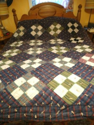 Vintage Wool 9 Patch Quilt Full Sized Very Heavy