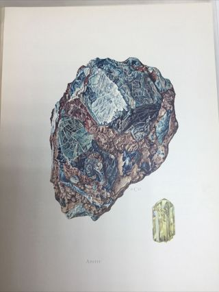Vintage (1967,  1969) Binder Full Of Rock And Mineral Art With German Descriptions