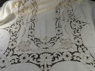 """Vintage Madeira Tablecloth Slight Linen Elaborate Taupe Hand Embroidery 66 """" X96 """""""