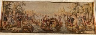 Vintage Tapestry Of Canals In Venice Made In Belgium Wall Hanging