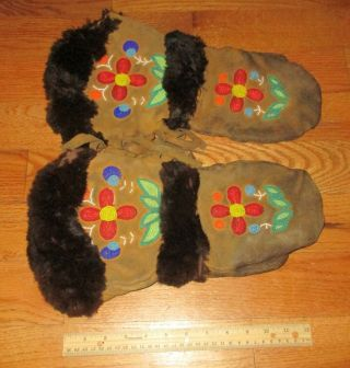 Vintage Early Native American Plains Crow Indian Beaded Leather Mittens Gloves
