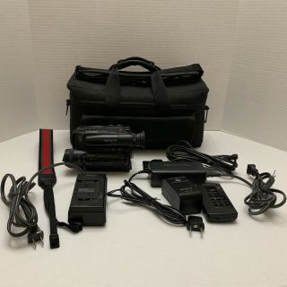 Vintage Sony Ccd - Tr5 Handycam 8mm Camcorder Video 8 Accessories As - Is Powers On