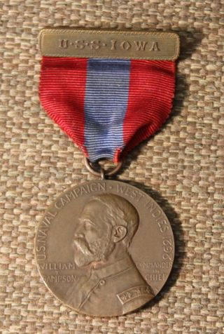 Spanish American War Sampson Medal From The Uss Iowa Named To A Chief Boatswains
