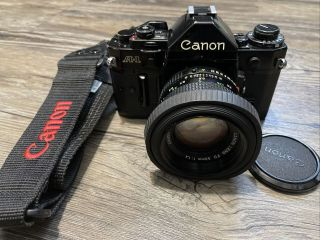 Vintage Canon A - 1 35mm Film Camera W/ 50mm Fd Lens 1.  4 - As - Is -