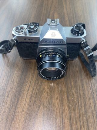 Vintage Asahi Pentax K - 1000 With Smc - M 1:2 50mm Lens With Strap