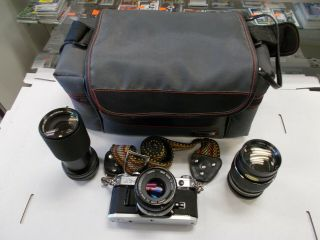 Vintage Canon At - 1 Camera With Lenses (3) And Bag -