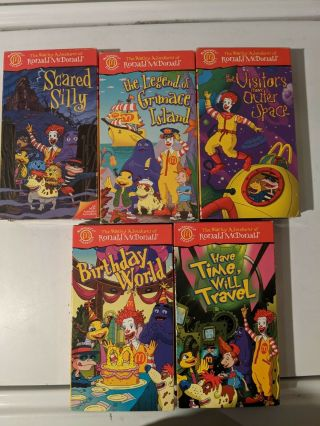 Vintage The Wacky Adventures Of Ronald Mcdonald Complete Set 1 - 5 Vhs Tapes