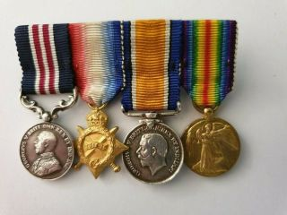 Ww1 Military Medal (mm) Miniature Medal Group