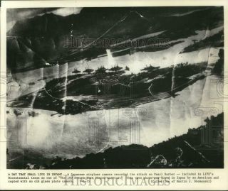1975 Press Photo Pearl Harbor Attack As It Appeared From Japanese Plane Camera