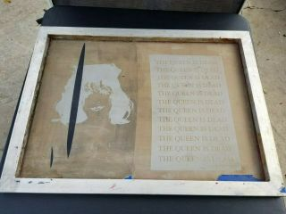 """Vintage Silk Screen Frame For Screen Printing Metal Frame """" The Queen Is Dead """""""