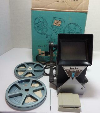 """Vintage Baia Reviewer Mark Ii 8mm 8 """"live Action"""" Movie Editor With Reels"""