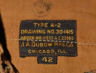 Wwii A - 2 Jacket,  First Contract Dubow 20960,  Size 42