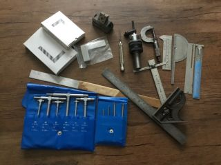 Vintage Starrett And Other Name Machinists Tools,  Square,  Bore Gages,  Ruler,  Etc
