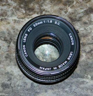 Vintage Canon Lens Fd 50mm 1:1.  8 S.  C.  - Made In Japan