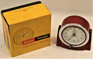 Vintage Eastman Kodak Red Wind Up Timer Art Deco Dark Room Boxed
