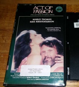Act Of Passion Vhs Vintage Video Kris Kristofferson,  Marlo Thomas Never On Dvd