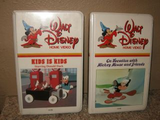 """Vintage Disney Home Video Donald """" Kids Is Kids """" & On Vacation Mickey Mouse Vhs"""