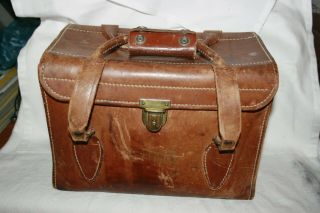 Vintage Rolleiflex Leather Camera Case Bag Double Handles