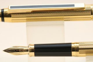 Vintage (c1993) Cross Signature Electroplated Gold Barleycorn Broad Fountain Pen