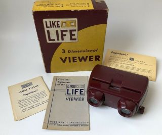 Like Life 3 Dimensional Viewer Vintage Deep - Vue Box For Stereo Slides