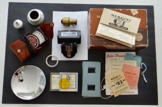Vintage Mercury Ii Minicamera Accessoires Flash Tags Light Meter Box Slide Card