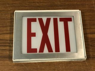 Vintage Exit Sign Glass Panel Metal Frame & Wood Box Industrial White Red