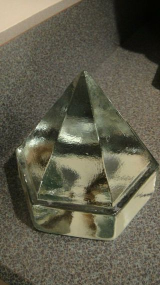 """Vintage Large Deck Prism Pyramid 6 Sided Light Green Glass Paperweight 4.  5 """""""