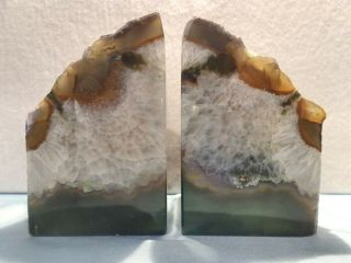 """2 Vintage 5 """" Green,  White,  Brown Agate Crystal Geode Bookends Paperweights"""